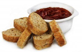 smoky gazpacho dip - wholemeal crispbread slices and smoky tomato relish
