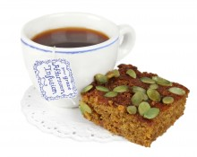 pumpkin and ginger cake with an afternoon infusion - afternoon tea infusion and pumpkin & ginger cake