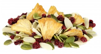shangri-la - lingonberries, pineapple, almond slices and pumpkin seeds