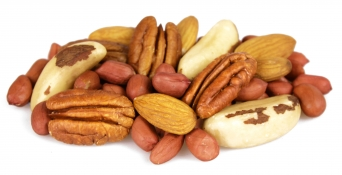 heart healthy nuts - redskin peanuts, pecan nuts, brazil nuts and almonds