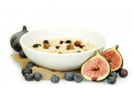 fig and blueberry porridge - diced figs, blueberries, oats and blueberry infused cranberries