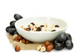hazelnut and flame raisin porridge - chopped roasted hazelnuts, oats, yoghurt coated sunflower seeds and jumbo raisins