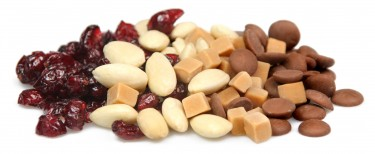 billionaire's shortbread - fudge pieces, blanched almonds, milk chocolate drops and cranberries