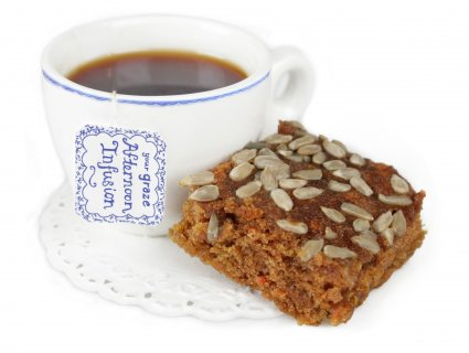 image of carrot cake with an afternoon infusion