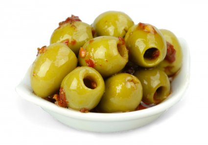 image of green olives with harissa
