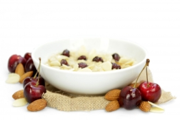 cherry and almond porridge - acacia honey, oats, almond slices and cherries