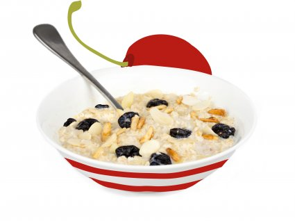 image of cherry and almond porridge