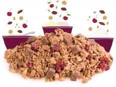 dark rocky road granola topper - freeze dried sour cherry pieces, chocolate granola and chocolate fudge