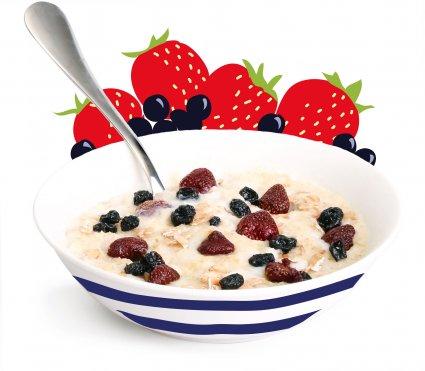 image of strawberry and blackcurrant porridge