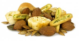 italian herb focaccia - mini basil breadsticks, rosemary crostini, fiery seeds and smoked almonds
