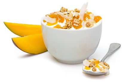 image of mango and coconut protein yoghurt topper