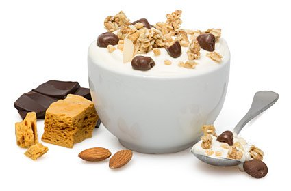 image of honeycomb and almond protein yoghurt topper