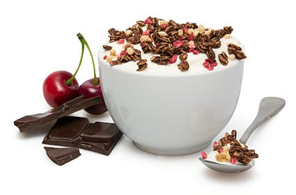 image of chocolate cherry protein granola topper