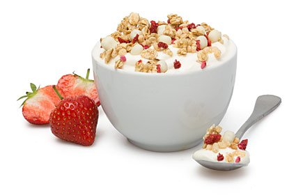 image of strawberries and cream protein granola topper