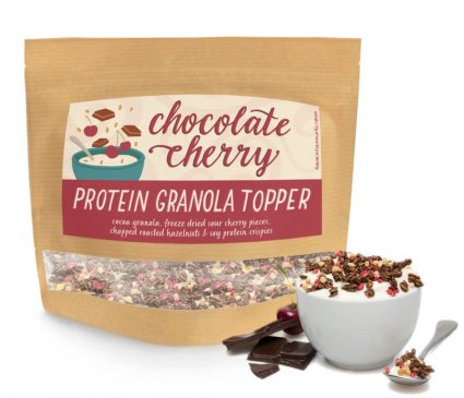 image of chocolate and cherry protein granola topper