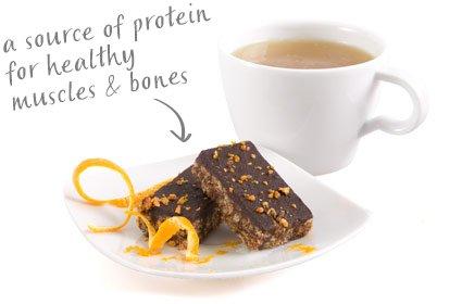 image of cocoa orange bites with a citrus green tea