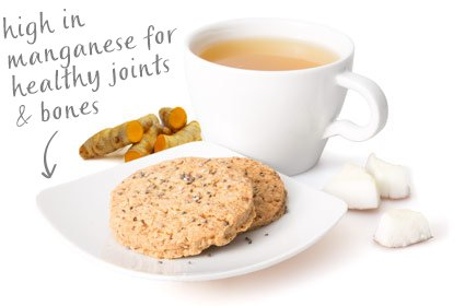 image of chia coconut cookie with a turmeric ginger tea