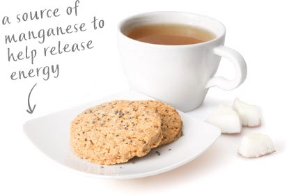 image of chia and coconut cookie with afternoon infusion