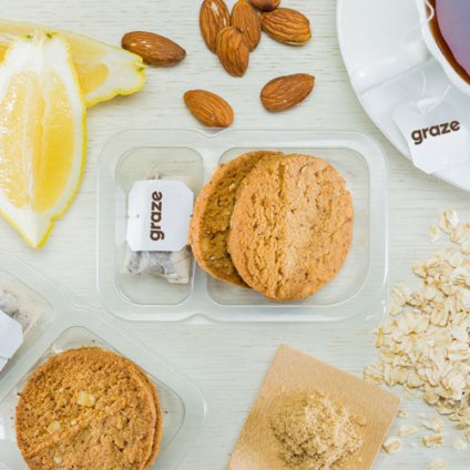 image of lemon almond cookies and tea