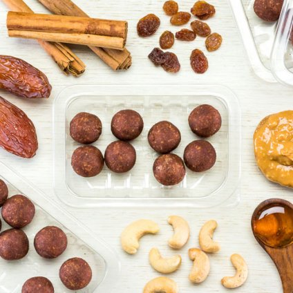 image of cinnamon and cashew mini protein ball
