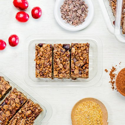 image of cocoa cranberry protein flapjack