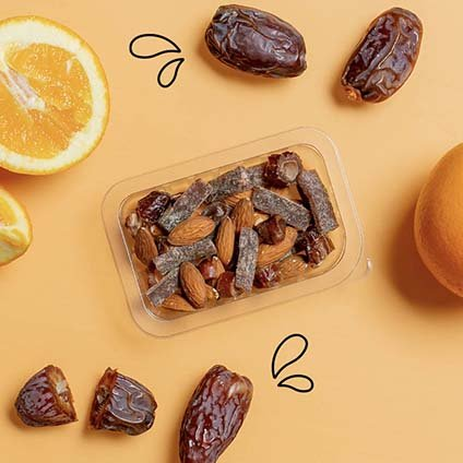 image of cacao & orange with dates and raw almonds