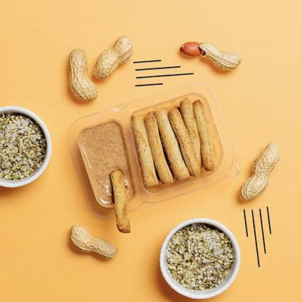 image of protein peanut butter dipper with baked hemp sticks