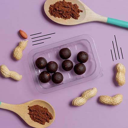 image of peanut butter and cocoa mini protein ball