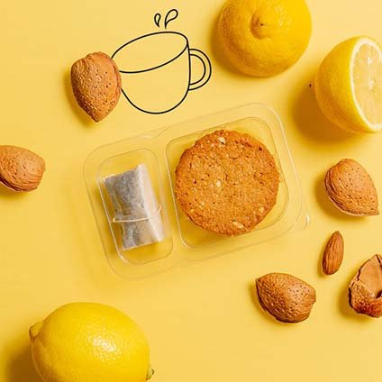 image of lemon & almond cookies and tea