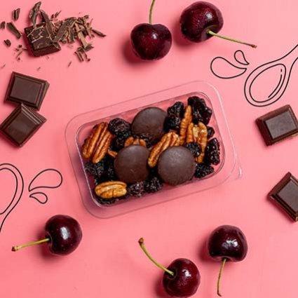 our version of dark chocolate cherry tart