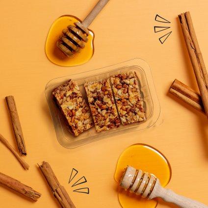 image of honey cinnamon protein flapjack